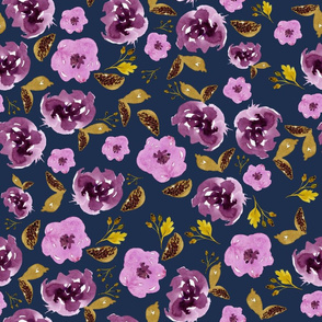 "18"" Plum and Gold Florals - Blue"