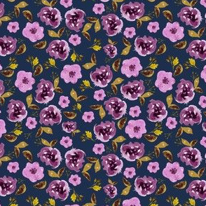 "4"" Plum and Gold Florals - Blue"