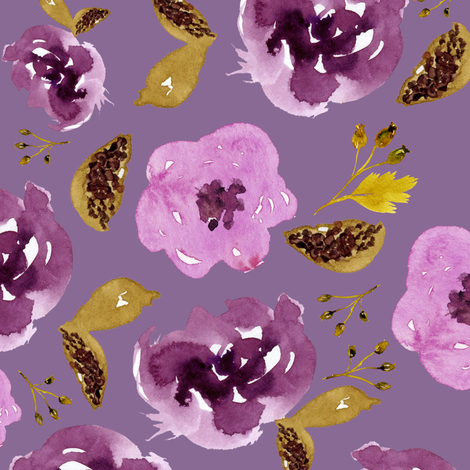 """18"""" Plum and Gold Florals - Dark Lilac fabric by shopcabin on Spoonflower - custom fabric"""