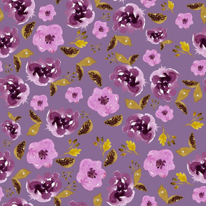 "18"" Plum and Gold Florals - Dark Lilac"