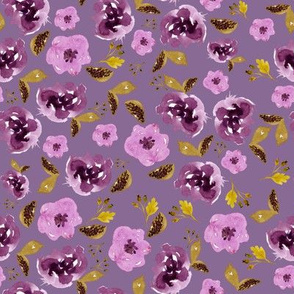 "8"" Plum and Gold Florals - Dark Lilac"
