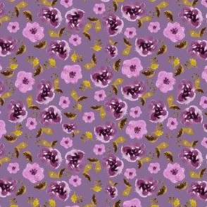 "4"" Plum and Gold Florals - Dark Lilac"