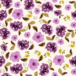 "18"" Plum and Gold Florals - Ivory"