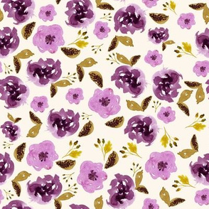 "8"" Plum and Gold Florals - Ivory"