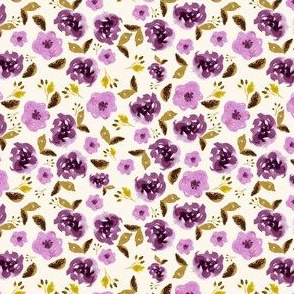 "4"" Plum and Gold Florals - Ivory"