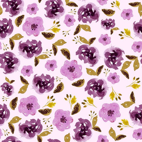 "18"" Plum and Gold Florals - Light Pink"