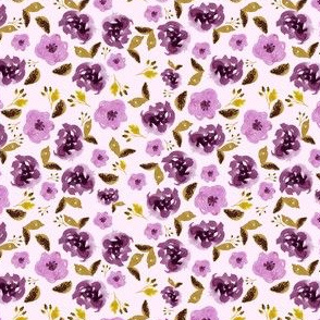 "4"" Plum and Gold Florals - Light Pink"