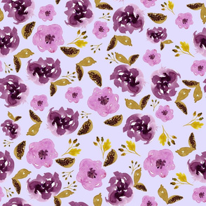 "18"" Plum and Gold Florals - Lilac"