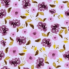 "8"" Plum and Gold Florals - Lilac"