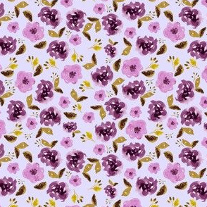 "4"" Plum and Gold Florals - Lilac"