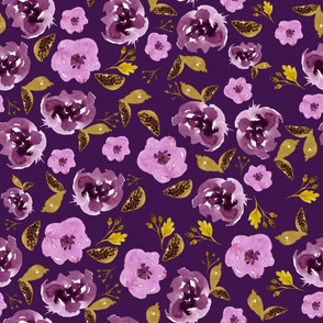 "18"" Plum and Gold Florals - Purple"