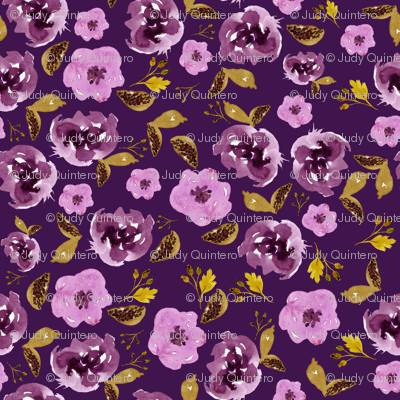 "8"" Plum and Gold Florals - Purple"