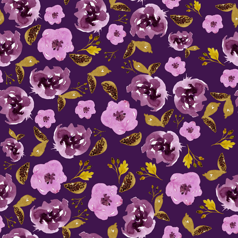 "8"" Plum and Gold Florals - Purple fabric by shopcabin on Spoonflower - custom fabric"