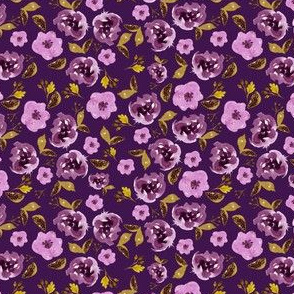 "4"" Plum and Gold Florals - Purple"