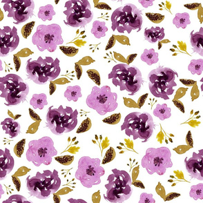 "18"" Plum and Gold Florals - White"