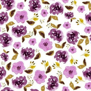 "8"" Plum and Gold Florals - White"