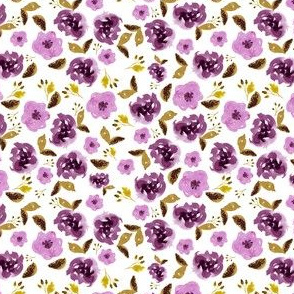 "4"" Plum and Gold Florals - White"