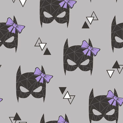 Girly Geometric Bat Mask with Purple Lilac Bow on Grey  fabric by caja_design on Spoonflower - custom fabric