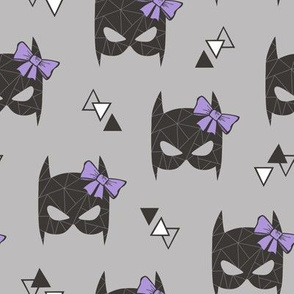 Girly Geometric Bat Mask with Purple Lilac Bow on Grey