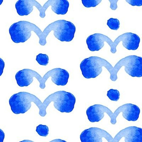 17-12C Blue watercolor abstract floral Large    Spots dots tree plant sky royal indigo home decor _ Miss Chiff Designs
