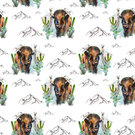 "4"" Boys Aztec Boho Buffalo / White fabric by shopcabin on Spoonflower - custom fabric"