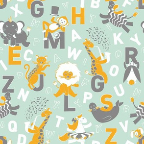 A B Circus Animals // mint background saffron monkey lion giraffe jaguar white horse warm grey zebra seal elephant white alphabet letters