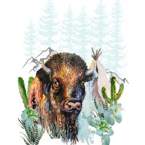 "56""x72"" Boys Aztec Boho Buffalo / 2 yards Print"