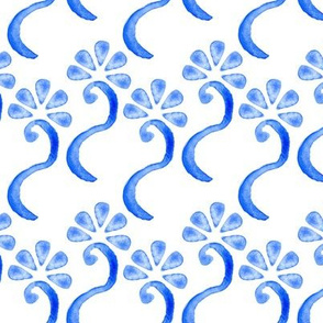 Blue Flower Watercolor Large || Royal Sky White Floral  _ Miss Chiff Designs