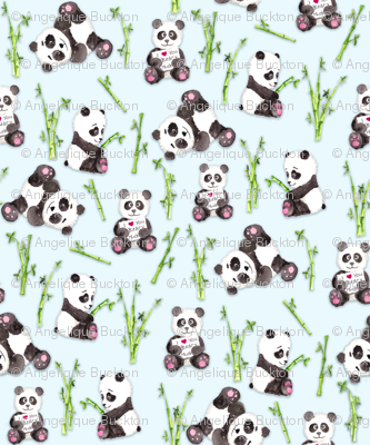 Panda Beary Love on Baby Blue