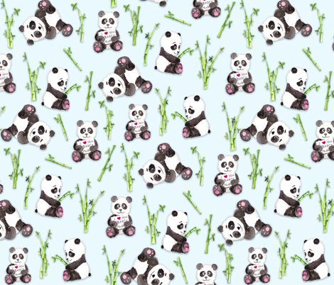 Panda Beary Love on Baby Blue fabric by gingerlique on Spoonflower - custom fabric