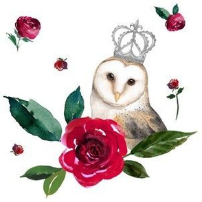 """6"""" Winter Roses & Owl / White"""