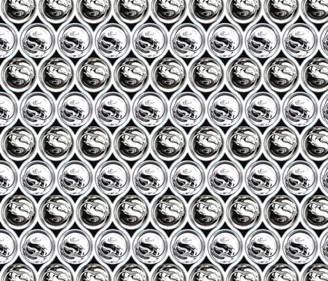 Silver Fractal Ball Bearings & Quatrefoil, Silver fabric by anneostroff on Spoonflower - custom fabric