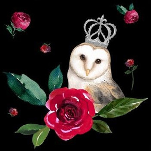 "7"" Winter Roses & Owl / Black"