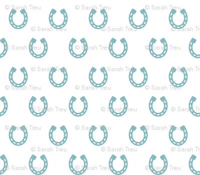 Horseshoes Blue on White