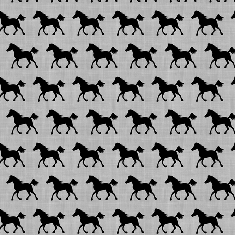 Horses on Linen Gray fabric by sarah_treu on Spoonflower - custom fabric