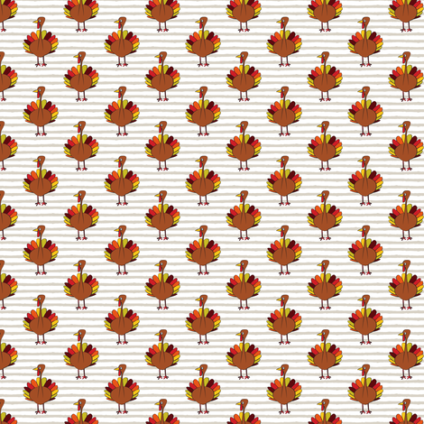 (small scale) turkey on stripes - thanksgiving day fabric by littlearrowdesign on Spoonflower - custom fabric