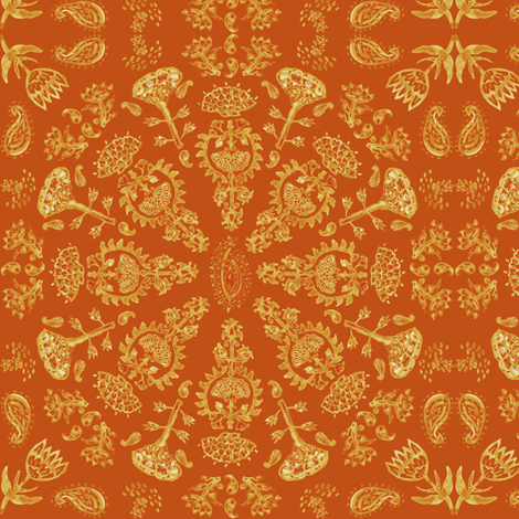 Watercolor Bohemian India Print in  Autumn Leaf + Pumpkin Spice fabric by elliottdesignfactory on Spoonflower - custom fabric