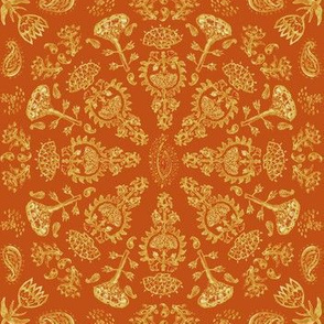 Watercolor Bohemian India Print in Autumn Leaf + Pumpkin Spice