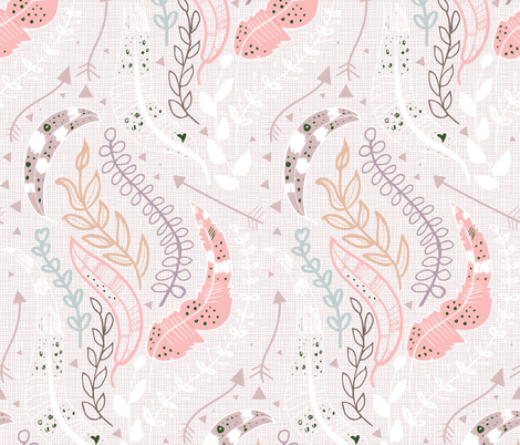 Feather Leaves and Arrows Boho fabric by pixabo on Spoonflower - custom fabric