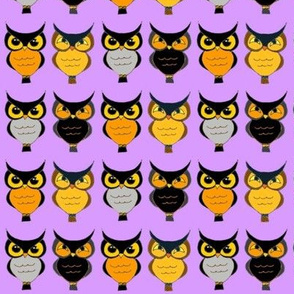 Owls on light purple