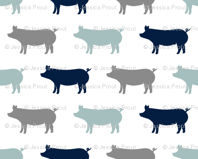 multi pigs - navy and dusty blue farm collection