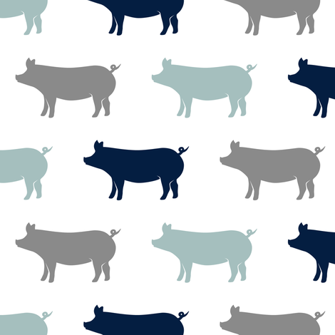 multi pigs - navy and dusty blue farm collection fabric by littlearrowdesign on Spoonflower - custom fabric
