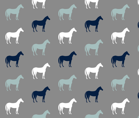 multi horses on grey - navy and dusty blue farm collection fabric by littlearrowdesign on Spoonflower - custom fabric