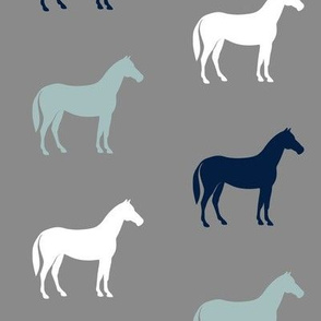 multi horses on grey - navy and dusty blue farm collection