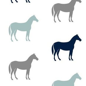 multi horses - dusty and navy blue farm collection