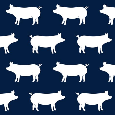 pigs on navy fabric by littlearrowdesign on Spoonflower - custom fabric