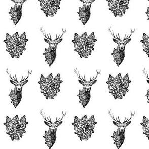 Buck & Buds Boho Deer / Black & White Toile