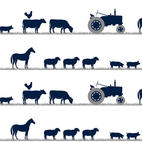 farm animals on parade - dusty blue and navy farm collection fabric by littlearrowdesign on Spoonflower - custom fabric