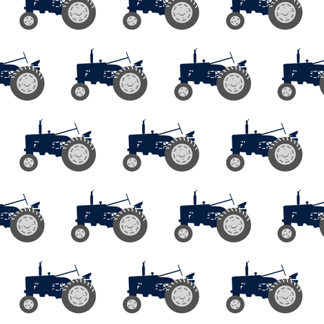 tractors - navy and dusty blue farm collection fabric by littlearrowdesign on Spoonflower - custom fabric