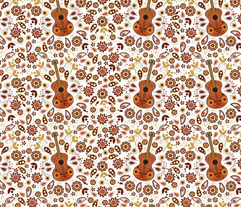 Serenade Me, Guitar, Bohemian, Paisley, Boho fabric by applebutterpattycake on Spoonflower - custom fabric